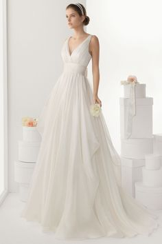 Sexy V neck Backless Bowknot Chiffon Wedding Dress Cheap [WBDF0012] - Aiven.co.uk - Aiven.co.uk