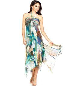 SL Fashions Dress, Spaghetti Strap Beaded Pleated Printed Handkerchief Hem