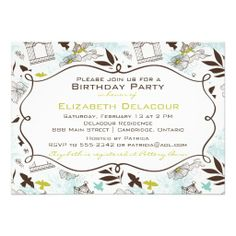 Floral Birdcages Pattern Birthday Party Invitation