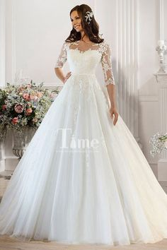 Scoop Half Sleeves White/Ivory Tulle Ball Gown Wedding Dresses WD149869