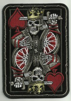 Suicide King Death Skull Playing Card Biker Patch