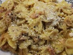 Φιογκάκια με μπέικον 🥓, ζαμπόν & κρέμα γάλακτος 🍶 φωτογραφία βήματος 9 Macaroni And Cheese, Meat, Chicken, Ethnic Recipes, Food, Vase, Mac And Cheese, Essen, Meals
