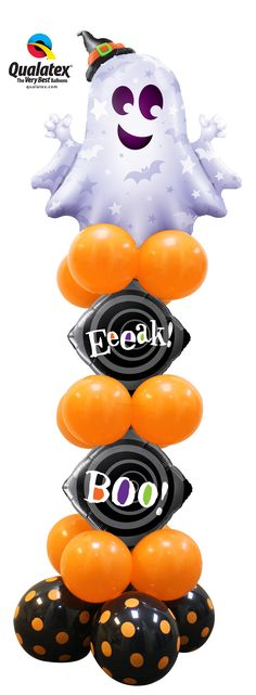 A friendly silver and sparkly ghost tops this fun #Halloween black and orange balloon column.