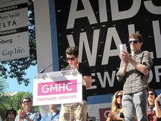 Nick Jonas and MIchael Urie at the 27th Annual AIDS Walk New York on May 20, 2012.