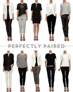 You can create so many outfits with a Capsule Wardrobe made up of good quality basics. Chic minimal outfits from your capsule wardrobe Black And White Outfit, White Outfits, Casual Outfits, Black White, Simple Outfits, Black Heels, Work Wardrobe, Winter Wardrobe, Black Wardrobe