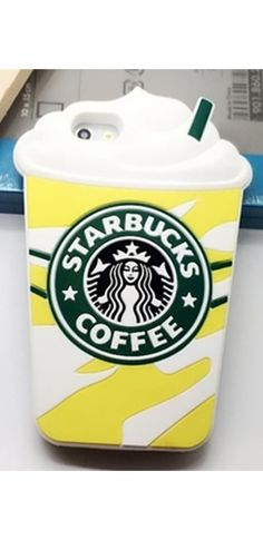 Yellow White Green Silicone Starbucks Coffee Cup Back Phone Case Iphone Samsung Cover