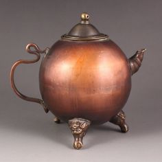 Chinese Red Copper Teapot Marked : Lot 289