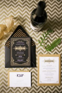 black and gold wedding invitation for gatsby theme
