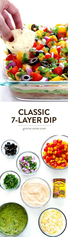 Learn how to make Classic 7-Layer Dip with this simple recipe. It's so delicious, and always perfect for a party! | gimmesomeoven.com