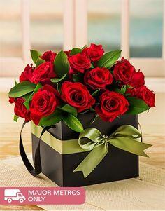 Buy or Send red roses arranged in a black gift box.<i><b>Image Contains 24 Roses</i></b><!--Roses Only-->  in South Africa.