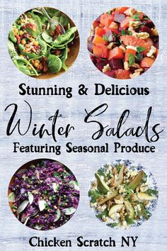 Gorgeous Winter Salads Winter is a great time to dig into a big bowl of salad. Check out these recipes for stunning winter salads featuring seasonal at it's best produce in creative and delicious ways Quick Salad Recipes, Salad Recipes For Dinner, Clean Recipes, Appetizer Recipes, Whole Food Recipes, Xmas Recipes, Baby Recipes, Winter Recipes, Vegetable Side Dishes