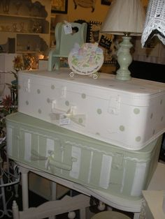 This is not my style, but what a good idea to paint old suitcases to give them new life.