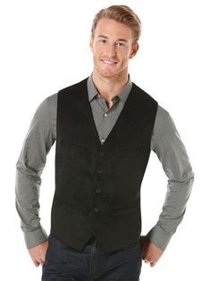 Big and Tall Solid Textured Velvet 5 Button Vest