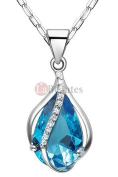 Womens stainless steel blue cz september birthstone ring jewelry embedded september birthstone crystal flower bud necklaces aloadofball Images