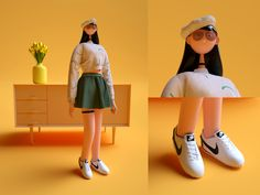 Girl designed by YZ. Simple Character, 3d Model Character, Character Modeling, Character Concept, Character Design, Game Concept, 3d Modeling, Level Design, 3d Design