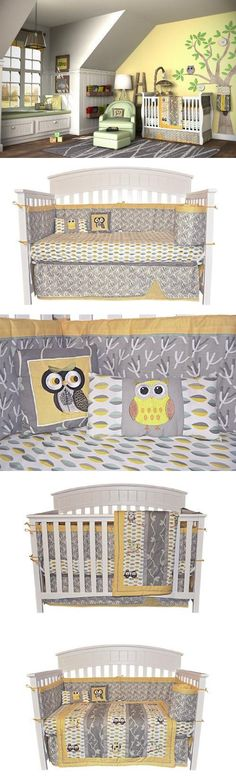 10PC OWL Gender Neutral Crib Bedding Set Grey & Yellow New Born, Baby, Child, Kid, Infant, 10 Piece Boutique Designer Bedding at an affordable Price! Designed by Jessica Lamph, #Baby, #Accessories