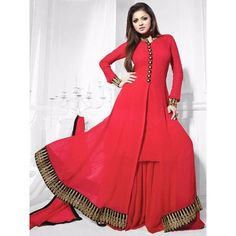 Winsome Red Georgette Anarkali Suit