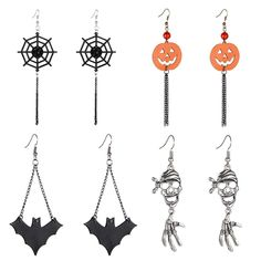 Halloween Dangle Earrings Set - Pack of 4 Pairs Halloween Costume Earring for Women Girls Kids Long Skull Cobweb Spider Pumpkin Bat Tassel Drop Earrings Jewelry Set, Hypoallergenic ** Click image for more details. (This is an affiliate link) Tassel Earrings Outfit, Yellow Tassel Earrings, Beaded Tassel Necklace, Feather Earrings, Dangle Earrings, Halloween Schmuck, Halloween Jewelry, Pair Halloween Costumes, Women Halloween