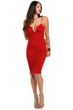 Red Cupid's Arrow Midi Dress   WindsorCloud