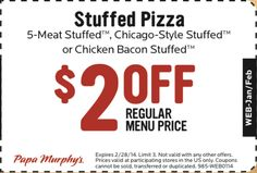 Papa Murphy's Printable Coupon: Get off a Stuffed Pizza. Valid until Free Printable Coupons, Free Coupons, Printable Cards, Free Printables, Haircut Coupons, Pizza Coupons, My Calendar, Favourite Pizza, Chicago Style
