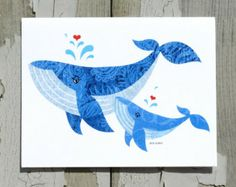 Note Card / Whimsical, Playful Blue Whales /  Beach Art / Mother's Day / Love / Printed from My Original Coastal Illustration