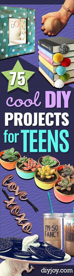 DIY Projects for Teenagers - Cool Teen Crafts Ideas for Teens Bedroom Decor, Gifts, Clothes and Fun Room Organization. Summer and Awesome School Stuff http://diyjoy.com/cool-diy-projects-for-teenagers