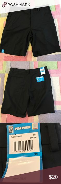 Men's black PGA tour golf shorts NWT 36 Laying flat, waist measures approx. 18.5/19in. Inseam approx. 10in. NWT moisture wicking, upf 50+ , mechanical stretch. Right side zip pocket. PGA Tour Shorts Athletic