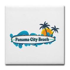 Panama City Beach - Surf Designs. Tile Coaster on CafePress.com