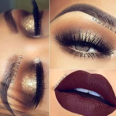 @auroramakeup - Fall makeup with dark red lips