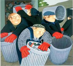 Dustbin men, by Beryl Cook