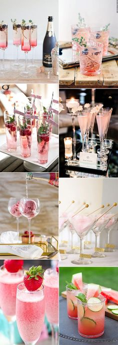 pink inspired wedding signature drinks