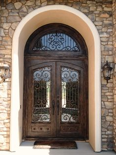 wrought iron square doors with rounded glass | Wrought Iron Door Dallas, Texas TX