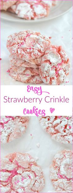 Easy Strawberry Crinkle Cookies made with cake mix. You can whip these cookies up in no time, and they're perfect for Christmas, Valentine's Day, Easter or any spring dessert treats! Great for Mother's Day too!