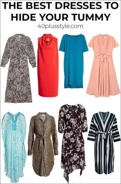 Have you developed a belly bulge and prefer to hide it. Here are the best dresses to hide you tummy and how to wear them. Hide you tummy and look amazing! Apple Shape Outfits, Dresses For Apple Shape, Summer Dresses For Women, Apple Shape Fashion, Fashion Over 40, 50 Fashion, Fashion Dresses, Petite Fashion, Fashion Tips