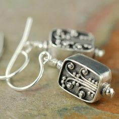 Bali Flower sterling silver earrings