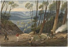 Augustus Earle View From Summit of Mount York - Convicts Breaking Stones. Australian Painting, Australian Art, Colonial Art, New Zealand Art, Historical Images, Love Art, Art History, Wales, Contemporary Art