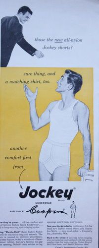 1950s ad Mens Underwear JOCKEY NYLON SHORTS & SHIRT