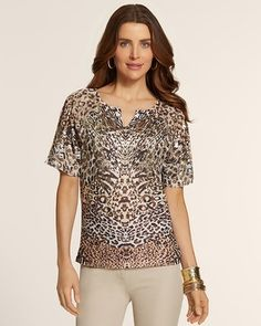 Chico's Reverse Patchwork Flutter Split-Neck Top #chicos