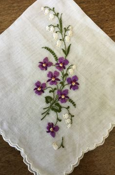 Vintage hankie white linen embroidered violets by ScrappierSisters