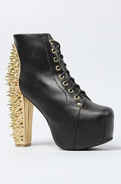 The Spike Shoe in Black and Gold Heel Cup by Jeffrey Campbell