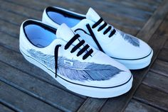 Hand Painted Native Eagle Feather on White Vans by BStreetShoes, $149.00