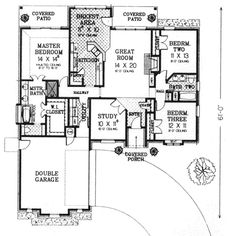 European Style House Plan - 3 Beds 2 Baths 1795 Sq/Ft Plan #310-577 Floor Plan - Main Floor Plan - Houseplans.com