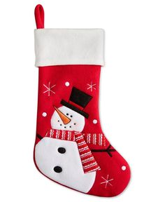 Hang this adorable stocking by the chimney with care and Christmas cheer will instantly be there! This felt snowman stocking from Holiday Lane features a Snowman enjoying the winter weather. Quilted Christmas Stockings, Christmas Stocking Pattern, Felt Stocking, Xmas Stockings, Felt Snowman, Christmas Snowman, Winter Christmas, Handmade Christmas Decorations, Christmas Makes