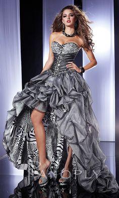 Strapless Silver High-Low Animal Print Prom Dress