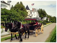 Mackinac Island - Michigan - a grand carriage to the Grand Hotel Mackinac Island Michigan, Island Horse, Mackinaw City, Big Mac, Horse Drawn, Beach Town, Grand Hotel, Places To See, Pet Dogs