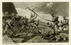 Battle of Doberdò Italy August 1916 Italian troops in hand to hand combat with Austrian troops in traditional Tirolean uniform Part of the Sixth...