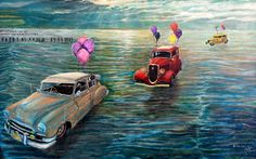 VINTAGE CARS I   93 x 59 cm   Acrylic and Oil Painting on Hardboard   by Krzysztof Polaczenko ® 2014