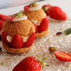 Cream Puff with Strawberries -- For a good source of fiber, eat right with Polaner - polanerallfruit.com #strawberry