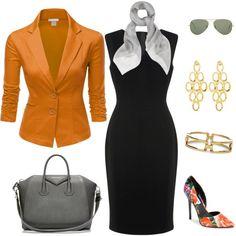 L.K.Bennett dress, Doublju blazer and Steve Madden pumps. Tangerine and neutral black/gray/gold hues