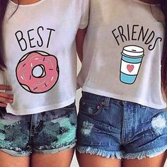 Hot summer printed tops - Book T Shirts - Ideas of Book T Shirts - Summer Women T-shirt Cute T Shirt Donut And Coffee Duo Flowy Print Funny Best Friends Tees Tshirt Couple Tops Blusas Best Friends, Best Friends T Shirt, Best Friend Outfits, Best Friends Forever, Friends Shirts, Funny Friends, Best Friend Clothes, Best Friend Stuff, Bff Shirts